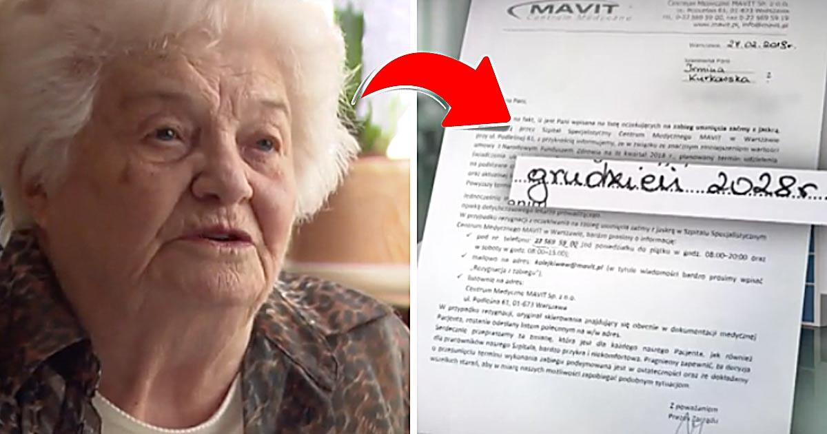 86-letniej kobiecie NFZ przesunął operację jaskry na 2028 rok